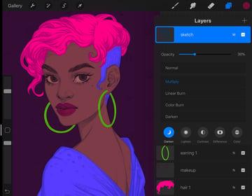 Procreate Portrait Painting Tutorial sketch layer properties