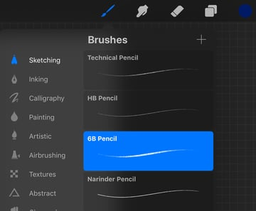 Portrait Procreate Tutorial choose a sketching brush