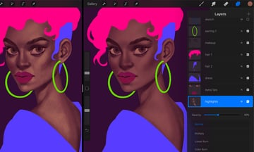 How to Paint a Portrait in Procreate Tutorial first highlights layer