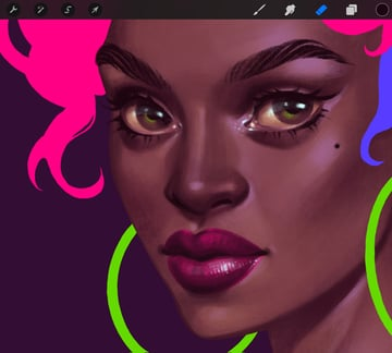 How to Paint a Portrait in Procreate Tutorial face volume