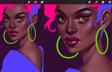 How to Paint a Portrait in Procreate Tutorial refining of the face