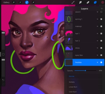How to Paint a Portrait in Procreate Tutorial draw the freckles