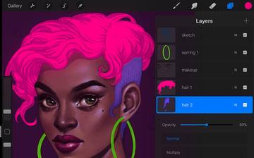Neon Portrait Tutorial Procreate lower the hair opacity