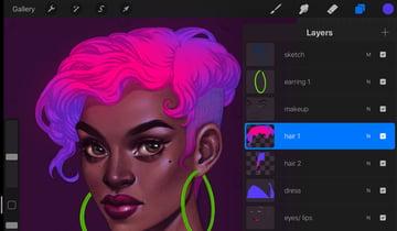Neon Portrait Tutorial Procreate forming hairstyle volume