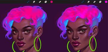 Neon Portrait Tutorial Procreate add highlights to the locks
