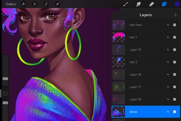Neon Portrait Tutorial Procreate create the folds