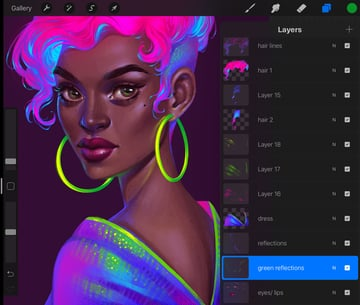 Procreate Neon Portrait Painting Tutorial add green reflections