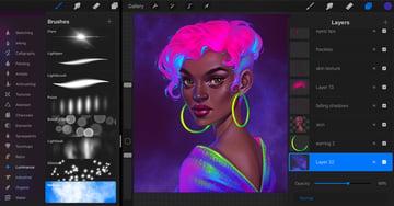 Procreate Neon Portrait Painting Tutorial create a purple nebula