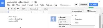 Notifications drop-down menu in Google docs document