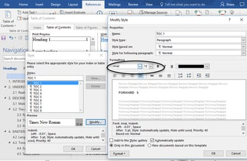 Edit the Styles dialog box for changing heading appearance