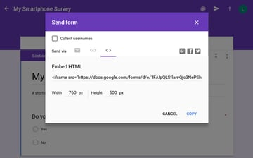 Google Forms Embed HTML dialog box