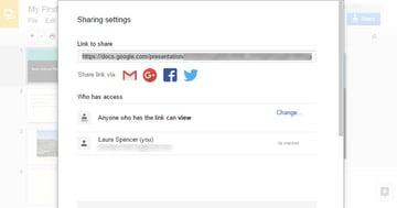 Google Slides sharing settings