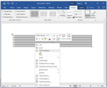 Insert a table into Microsoft Word