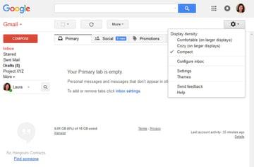 Gmail Settings drop-down menu