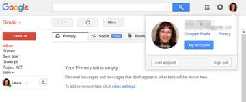 Google account information pop-up
