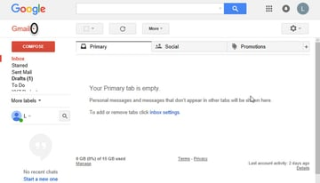 Main Gmail Screen