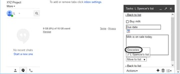 Available Gmail Task Lists