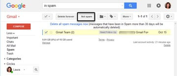 Click the not spam button to move a message out of the Spam foloder