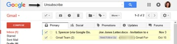 Use Gmail Search box to find unsubscribe emails