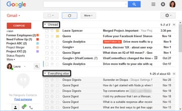 Gmail inbox with two sections