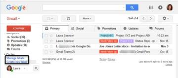 Gmail Manage labels and Create new label tools