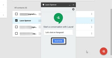 Invite contacts to a Google Hangout