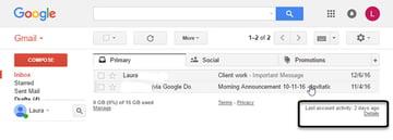 Gmail account activity