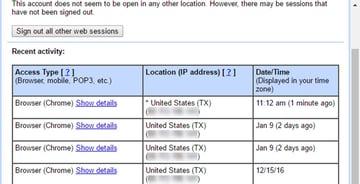 Gmail account activity details
