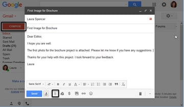 Create a new message in Gmail