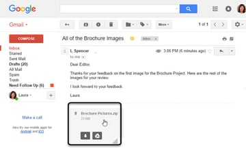 Gmail message with zipped attachment