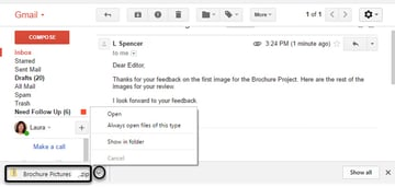 Open drop-down menu in Gmail