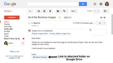Message with linked folder in Gmail