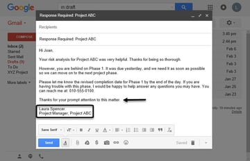 Informal email reminder closing