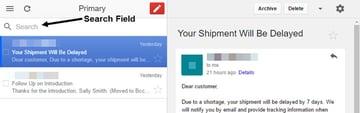 Gmail Offline search field