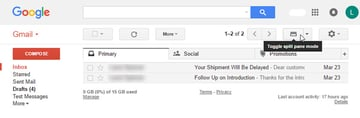 Gmail Toggle split pane mode icon
