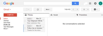 Empty Gmail Preview Pane