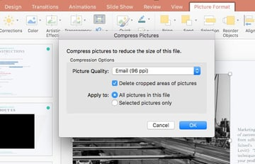Compress all your pictures in PowerPoint