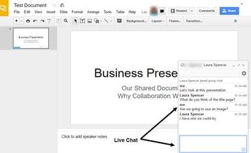 Google Slides live chat