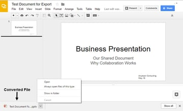 Google Slides converted to PowerPoint