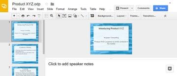 Open Office Converted presentation to Google Slides