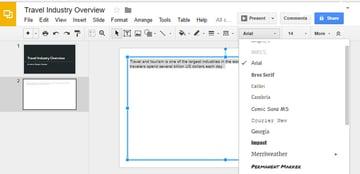 Font drop-down menu