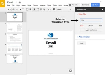 Selecting a Transition Effect in Google Slides