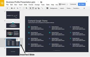 Kopierte Folie in Google Slides-Präsentation eingefügt