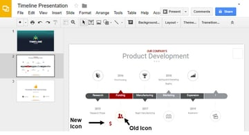 New and Old Icons in your presentation timeline slide