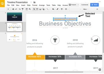 Selected Text in Google Slides timeline template