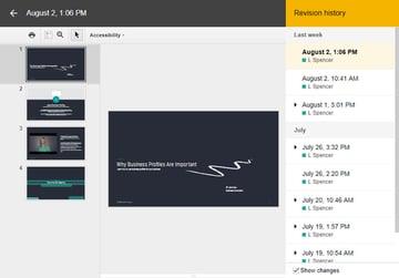 Google Slides Revision History