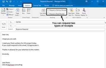 Return Request in Microsoft Outlook