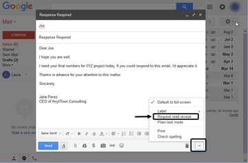 Requesting a Response in GSuite Gmail