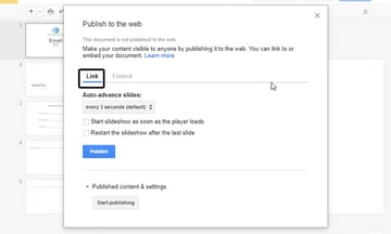 Link Tab in Publish to the Web Dialog Box
