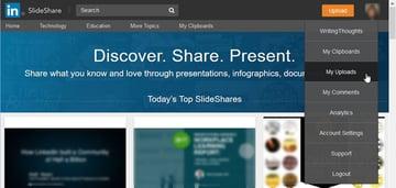 SlideShare Menu Drop-Down